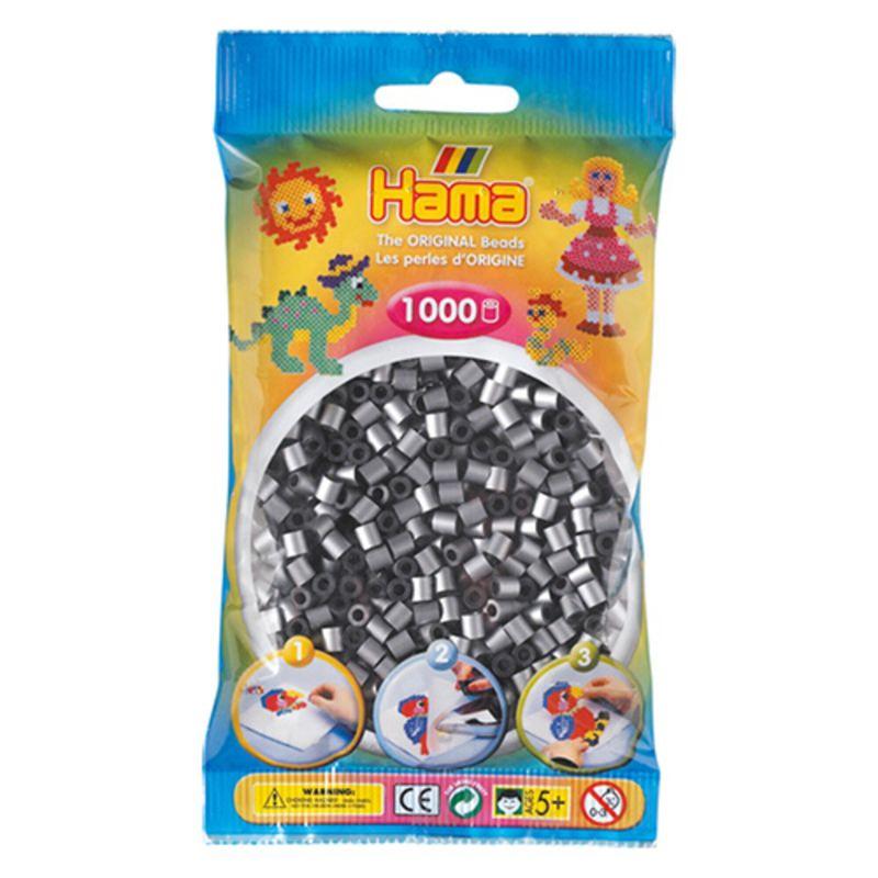 Hama perler midi 1000 stk - sølv-62