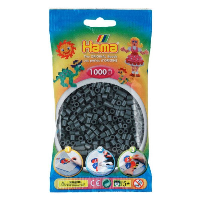 Hama perler midi 1000 stk - mørkegrå-71