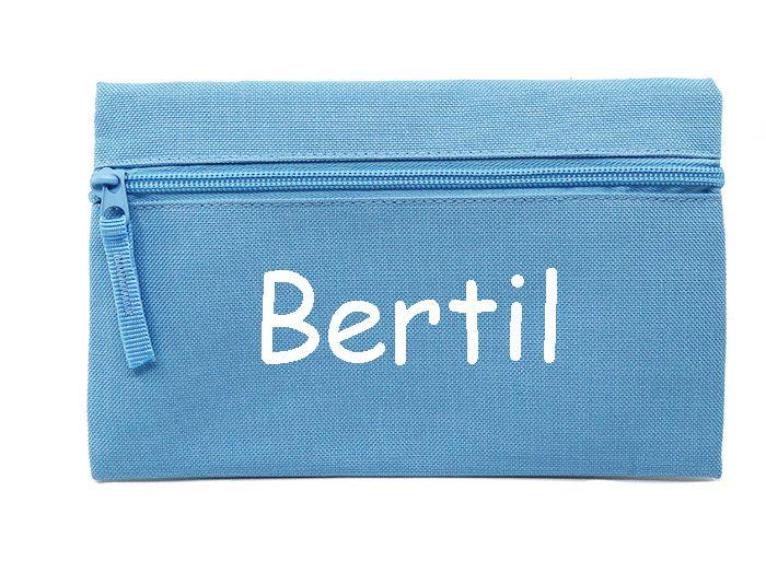 Penalhus/pung med navn - Penalhus lyseblå